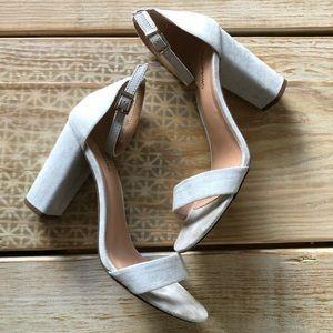 Mid heel sandal, light blue /denim